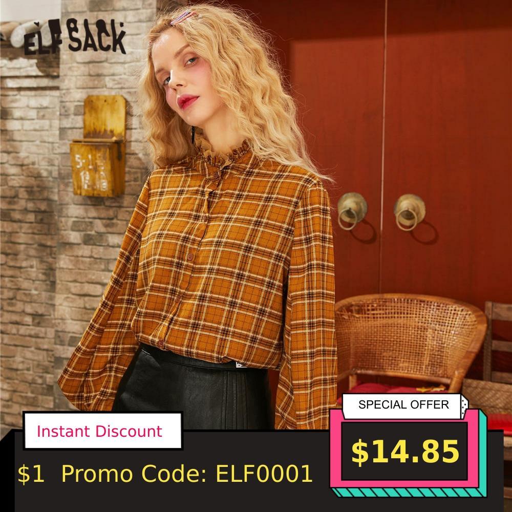 ELFSACK Caramel Plaid Mesh Contrast Frill Brit Graphics Shirts Women 2020 Spring Vintage Lantern Sleeve Casual Ladies Daily Tops