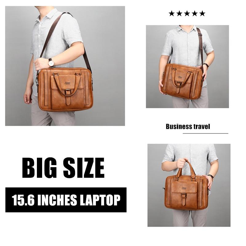 JEEP BULUO Big Size Men Briefcase Bags For 15.6 inches Laptop Split Leather Business Handbag Male Shoulder Travel Bag office