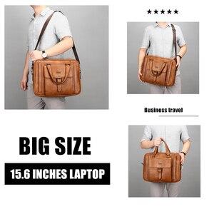 Image 2 - Jeep Buluo Big Size Mannen Aktetas Tassen Voor 14 Inch Laptop Split Lederen Business Handtas Mannelijke Schoudertas Reistas Kantoor