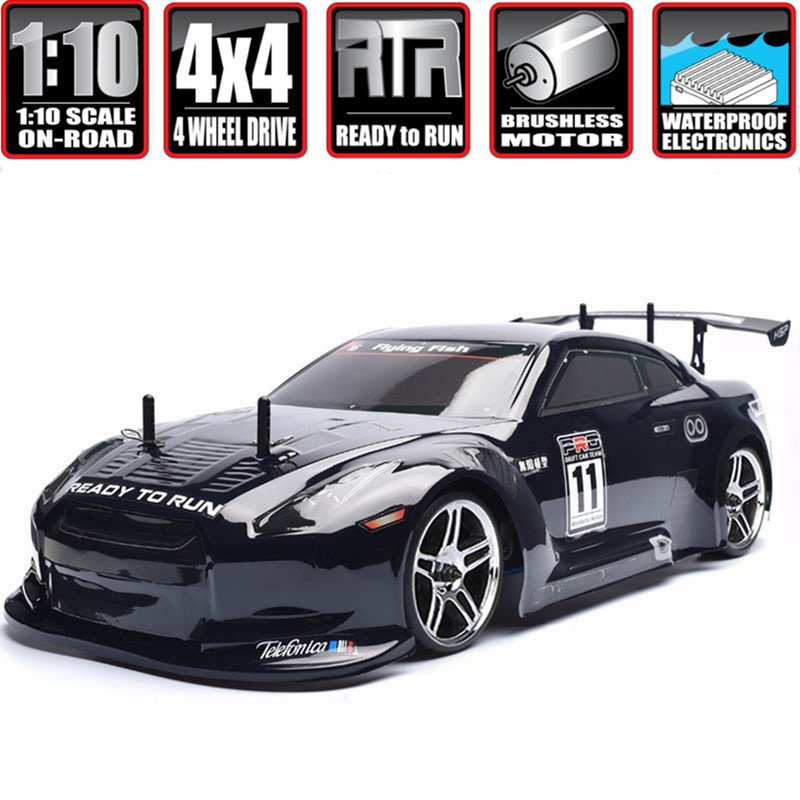 HSP Racing Rc Car 4wd 1:10 Electric Power On Road High Speed Drift Car 94123 Flying Fish (Black)