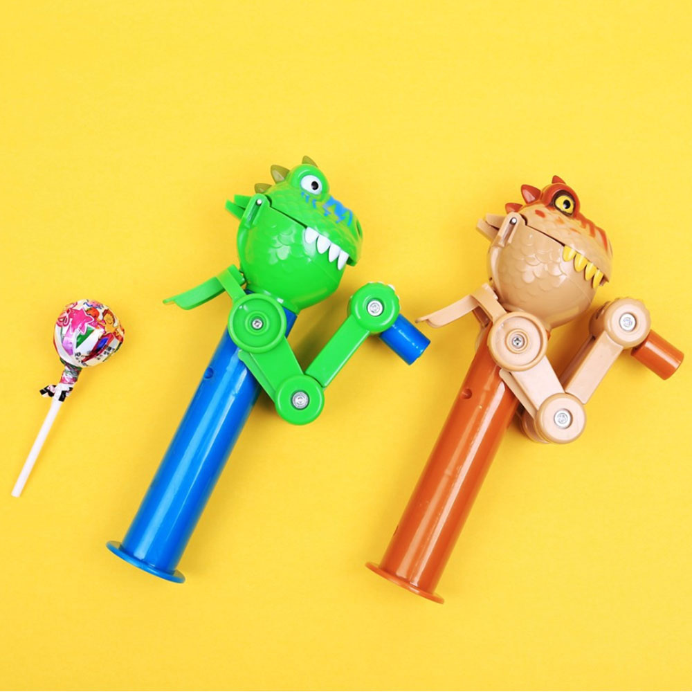 New Funny Manual Dinosaur Eat Lollipops Kids Baby Robot Funny Eating Lollipop Holder Stand Gifts Decompression Toys For Children