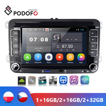 Podofo 2din 7 VW Android Car radio Multimedia Player GPS Navigation Bluetooth TWO USB PORT FM Autoradio For VW POLO GOLF image