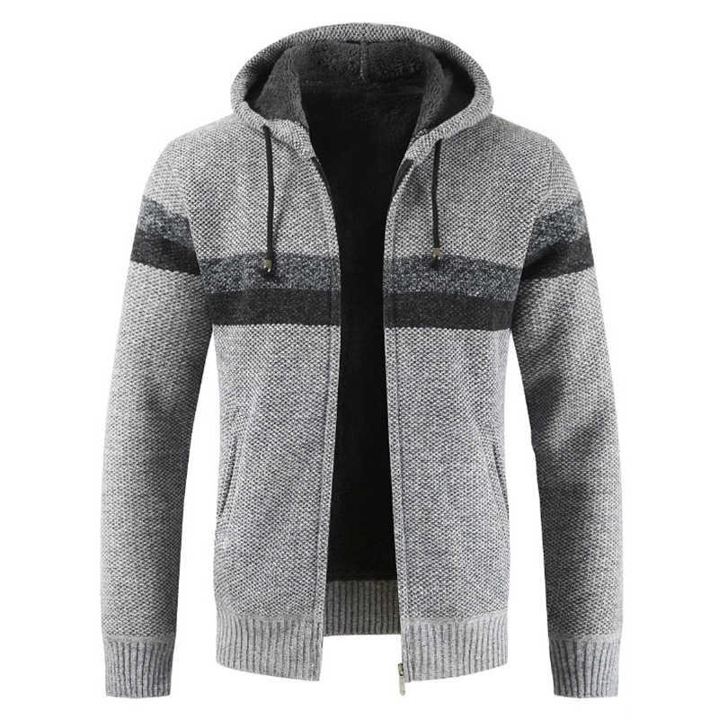 WENYUJH ファッションセーターコート男性厚い付きカーディガン男性ストライプ長袖ジッパーフリースコート男性 2019 新冬