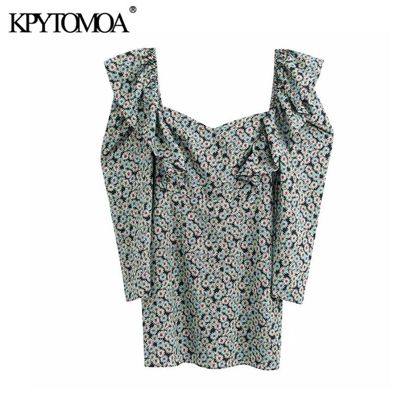 KPYTOMOA Women 2020 Chic Fashion Floral Print Ruffled Mini Dress Vintage Puff Sleeve Back Zipper Female Dresses Vestidos Mujer