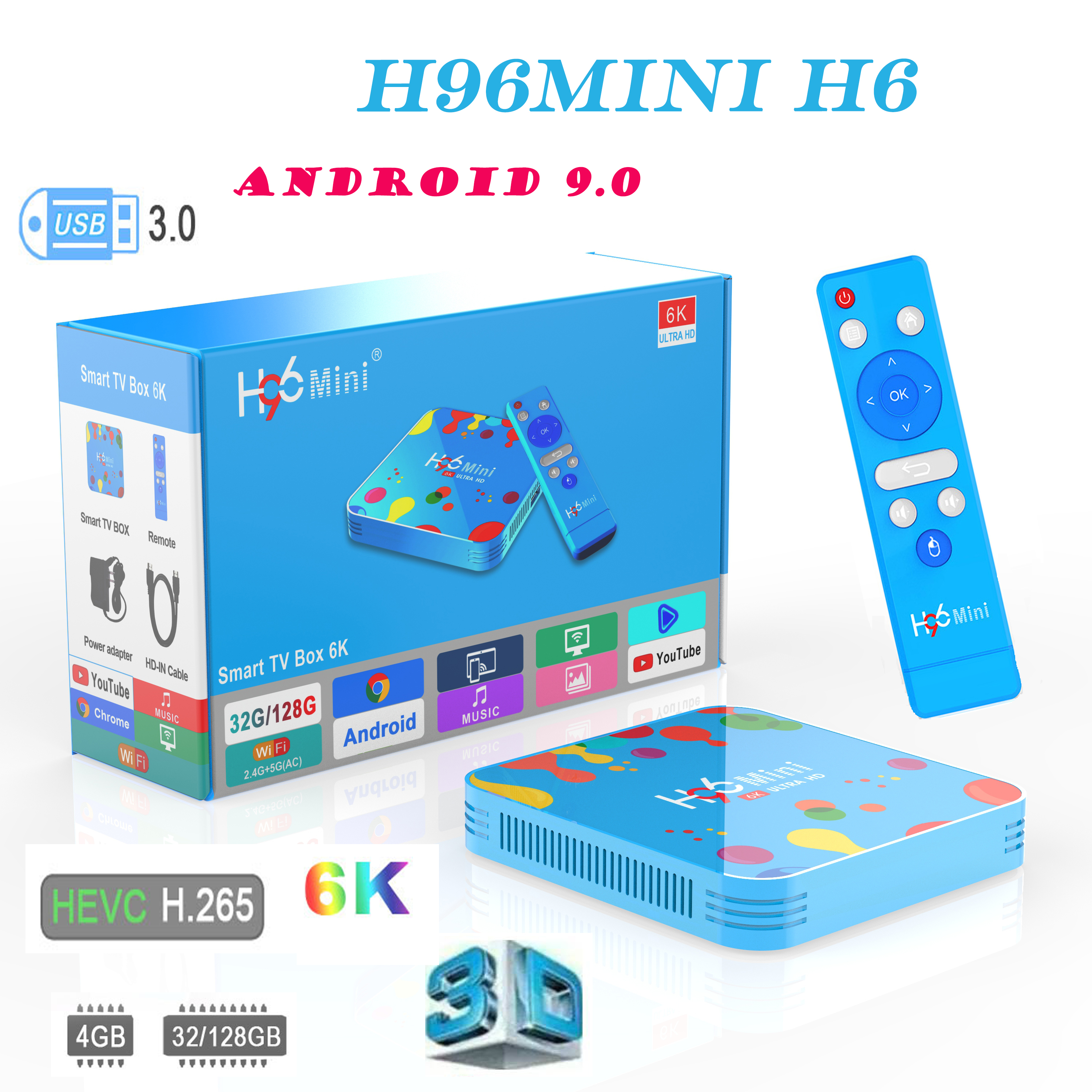 Smart console H96 MINI H6 Android 9 0 tv box 4G 32G 128G wifi 2 4G 5G 6K H 265 Smart TV Set Top Box support iptv Italy Spain in Set top Boxes from Consumer Electronics