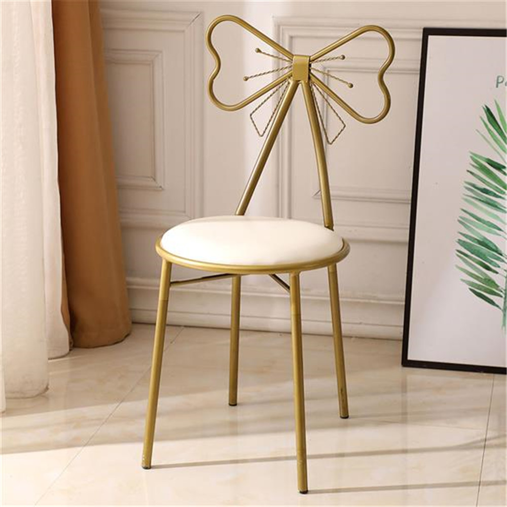 FCH Butterfly Backrest Wrought Iron Leather Makeup Stool Dressing Stool White Hotel Chair Wrought Iron Plated