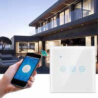 UBARO-Panel de vidrio templado para la UE, Interruptor táctil inteligente con Wifi en casa, compatible con voz, asistente de Google, Alexa, Control por aplicación