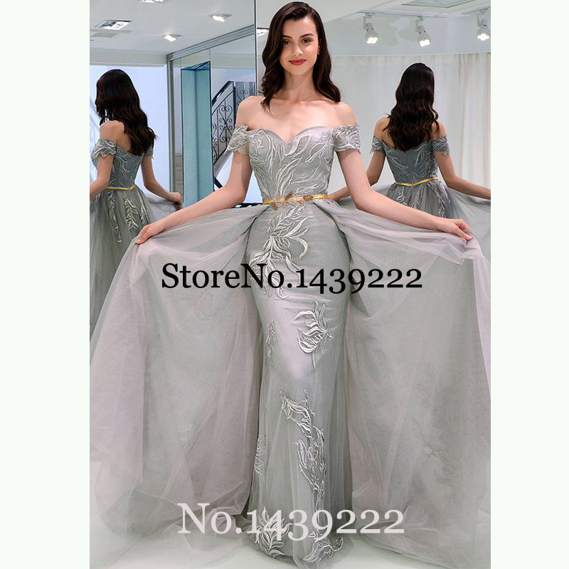 Grey Tulle Evening Dresses Off The Shoulder Lace Appliques Sofuge Women Mother Dress Arabic Muslim Special Occasion Formal Party