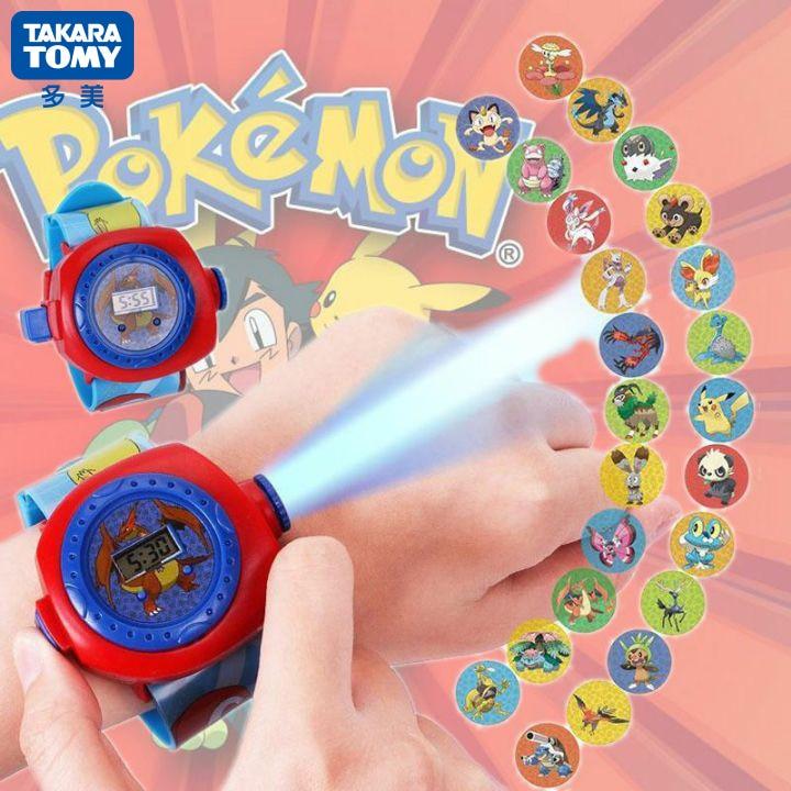 Venda quente takara tomy pokemon crianças relógios pikachu colorido fonte de luz meninos assistir meninas crianças festa presente relógio pulso|Figuras de ação|   -