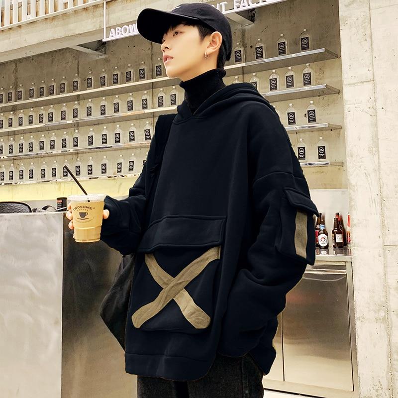 Drop Shipping 2020 New Fashion Thicken Men Cargo Style Hoodies Casual Fleece Male Pullover Hooded Sweatshirt Streetwear Loose
