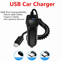 Universal Car Charger With USB Cable Mobile Phone Charger For iphone for Samsung Micro USB Type C Cable Fast Car Phone Charger cheap elenxs Car Lighter Slot ROHS CZ12214 Qualcomm Quick Charge 2 0 12-24V 2 4A