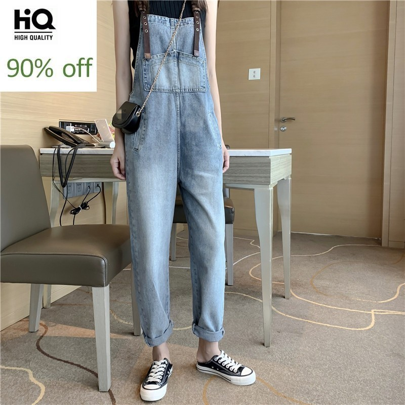 Autumn New Fashion Slim Straight Denim Jumpsuit Women High Street High Waist Casual Straps Jeans Overalls Trousers Female S-L