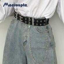 Moda harajuku cinto de corrente do punk feminino ajustável preto duplo/único ilhó ilhó grommet metal fivela de couro para jeans