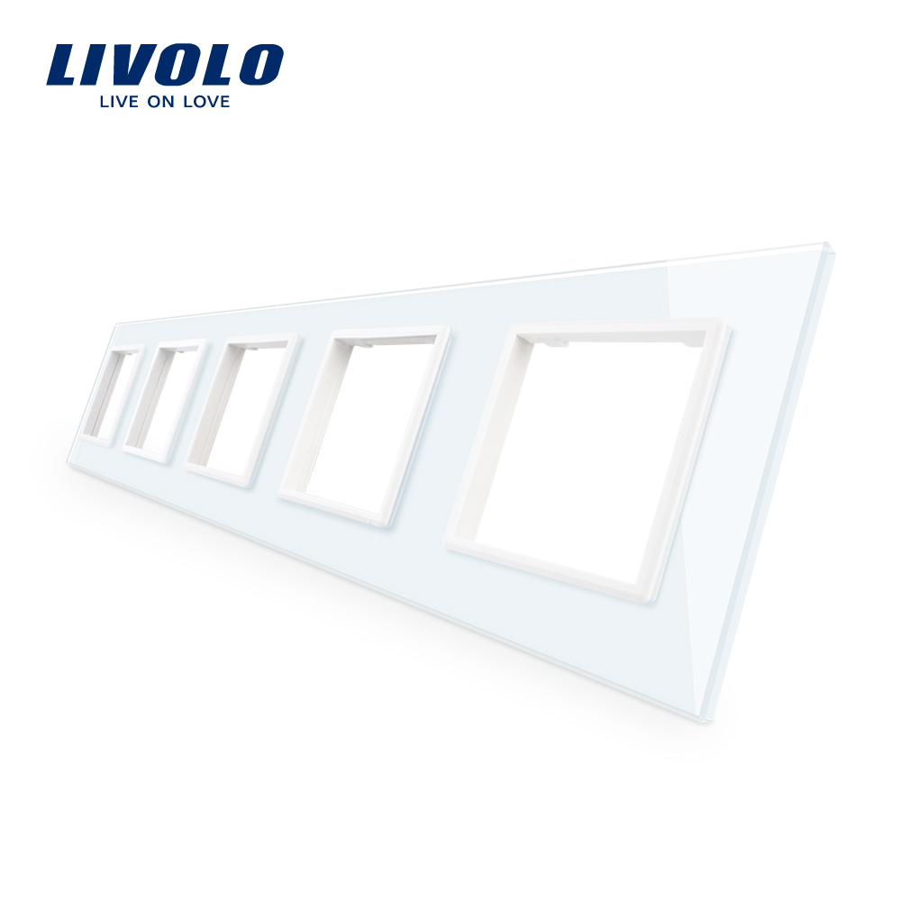 Livolo Luxury 4colors Crystal Glass Switch Panel, 364mm*80mm, EU Standard,Quintuple Glass Panel For Wall Socket C7-5SR-11