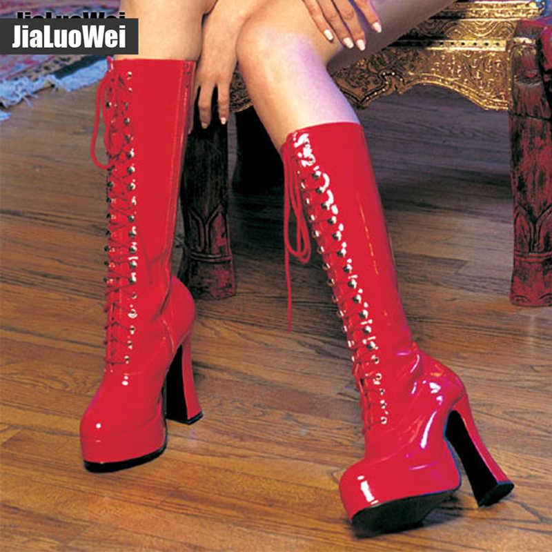 """Kobiety 5 """"gruby obcas platforma PU skórzane zasznurować kolana-wysoka jednolity, na zamek buty-egzotyczne, fetysz, Sexy, buty"""