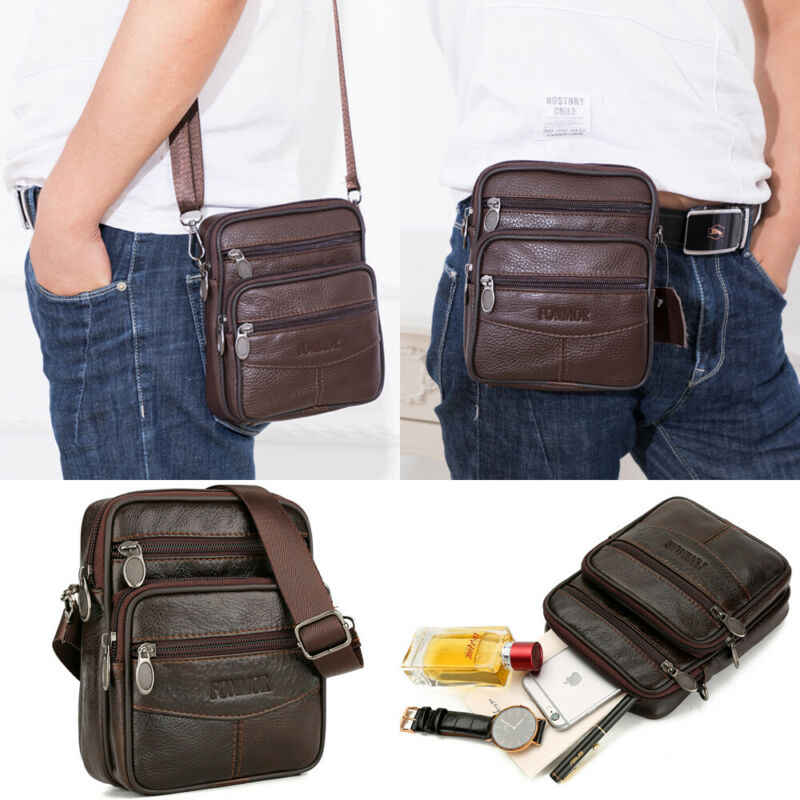 Vintage casuales de cuero de los hombres de bolso de mensajero Cruz-cuerpo, bolso, bolso de hombro, bolso