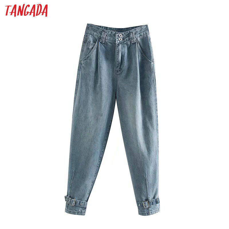 Tangada Women Blue Harm Jeans Pants High Waist Boy Friend Style Pocket Trousers Stylish Denim Trousers 4M140