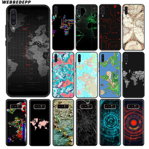 Wereldkaart Reizen Zachte Siliconen Case voor Samsung Galaxy A50s A40s A30s A20s A10s voor Samsung Note 8 9 10 plus