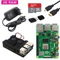Оригинальный Raspberry Pi 4 Model B Kit  алюминиевый чехол 2 ГБ/4 Гб + адаптер питания + кабель Micro HDMI + карта SD 32 ГБ для Pi 4 4B