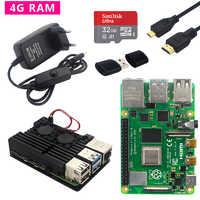 Originale Raspberry Pi Modello B Kit Dual Ventola in Alluminio 4 Caso + Interruttore di Alimentazione Adattatore + Micro Cavo Hdmi + 32 Gb Sd Card per Il Pi 4 4B