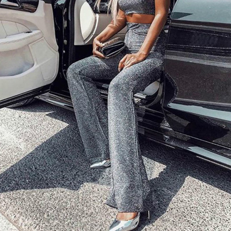 Fashion Shine Glitter Flare Pants Pleuche Party Club Women Wide Leg Pants Sparkle High Waist Casual Long Trousers Mujer LX222