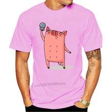 Cute Pig Lifting Weights Cartoon Men'S Tee -Image By Summer Style Casual Wear Tee Shirt