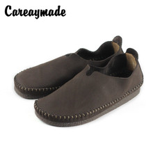 Careaymade-Top layer leather retro single shoes Spring and Autumn flat-heeled soft-soled lazy womens hand-made casual