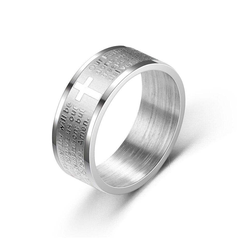 Biblia feminina masculina cruz anel de dedo masculino cor prata aço inoxidável anéis cristãos para mulheres religiosas jóias 2021