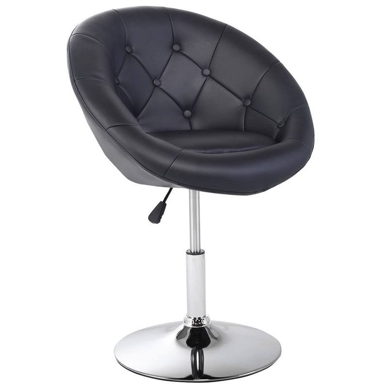 Round Tufted Back Accent Bar Chair Modern Comfortable Cushions Adjustable Height Ergonomic Metal Bar High Chair Stool HW52961