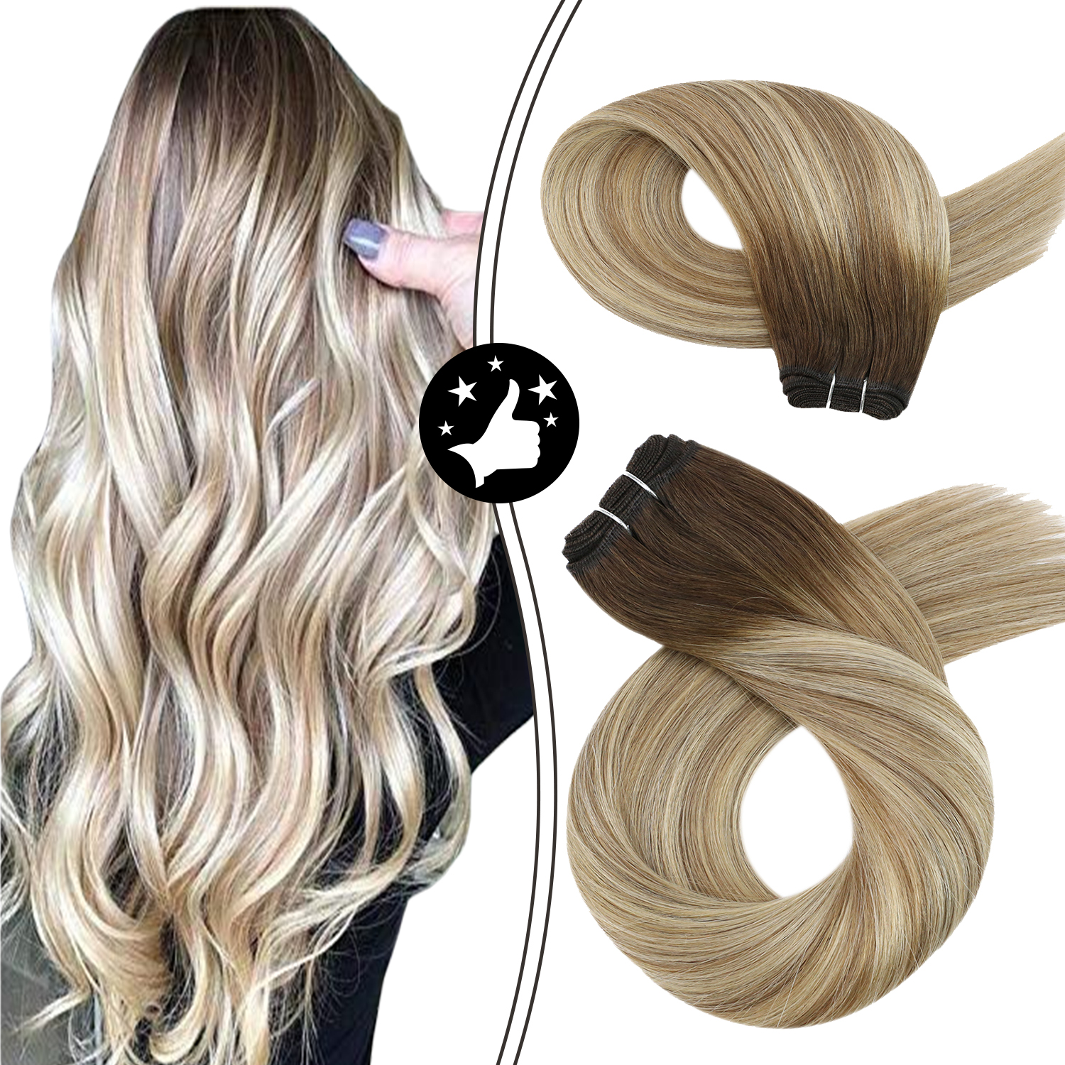 Hair Weft Sew in Extensions #3/8/22 Double Weft Weave in Balayage Ombre 100 Gram Machine Remy Human Hair Bundles Brazilian