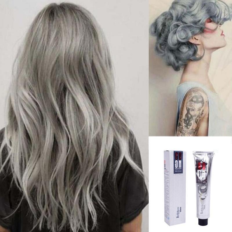 100ml Fashion Hair Cream Unisex Smoky Gray Punk Style Hair Dye Colors Color Hair Cream Permanent Beauty Light Grey Girls Si G1J0