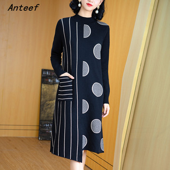 long sleeve plus size knitted vintage women causal loose midi autumn winter sweater dress elegant clothes 2021 ladies dresses 2020 elegant knitted sweater dress women korean causal autumn spring hollow out long sleeve loose pullover long dress black