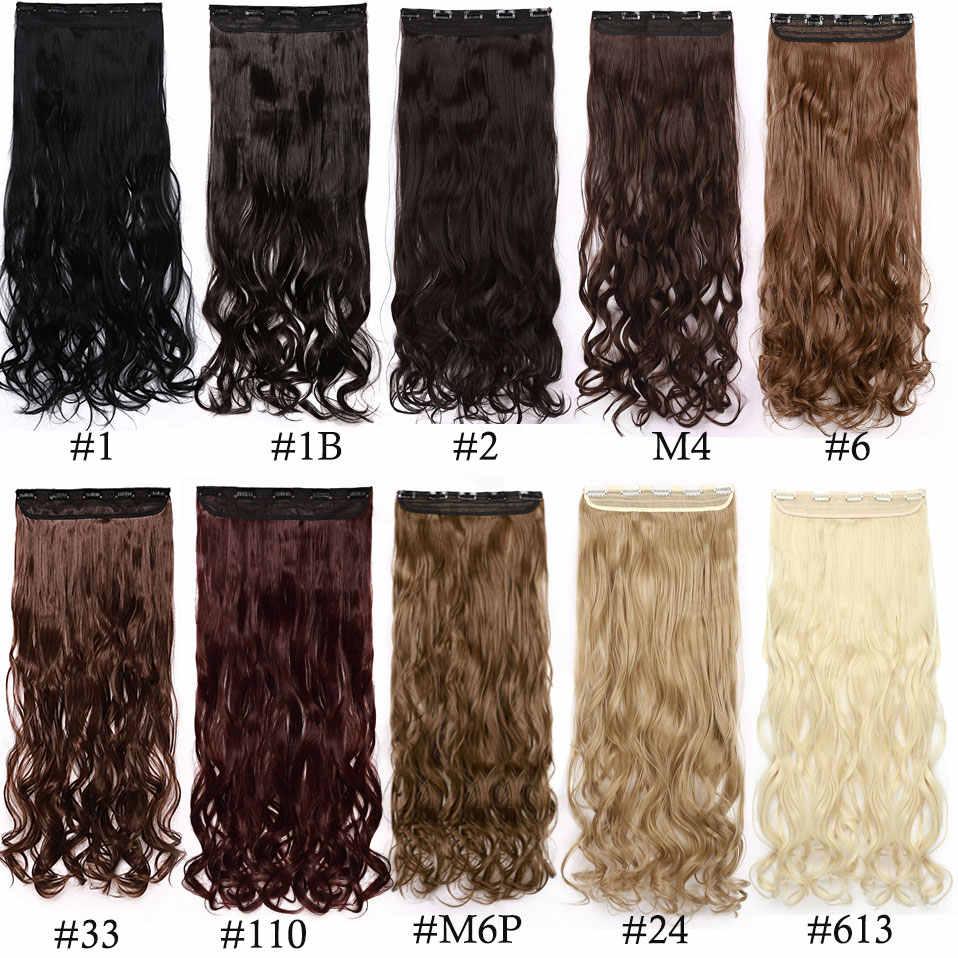 S-noilite Long wavy CLIP One ชิ้นผมสังเคราะห์ธรรมชาติผมสีดำสีน้ำตาลสีบลอนด์ผู้หญิงคลิปใน hairpiece