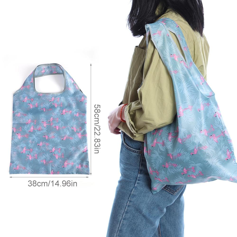 Folding Shopping Bag Eco Friendly Ladies Gift Foldable Reusable Tote Bag Portable Travel Shoulder Bag Small Size 38*58 Cm