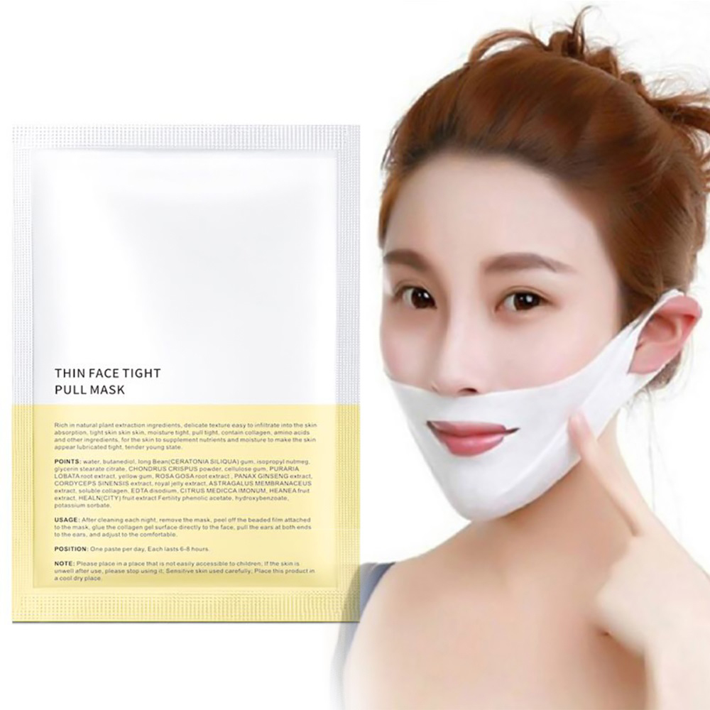4D Double V Face Shape Tension Firming Mask Paper Slimming Eliminate Edema Lifting Firming Thin Masseter Face Care Slim Mask