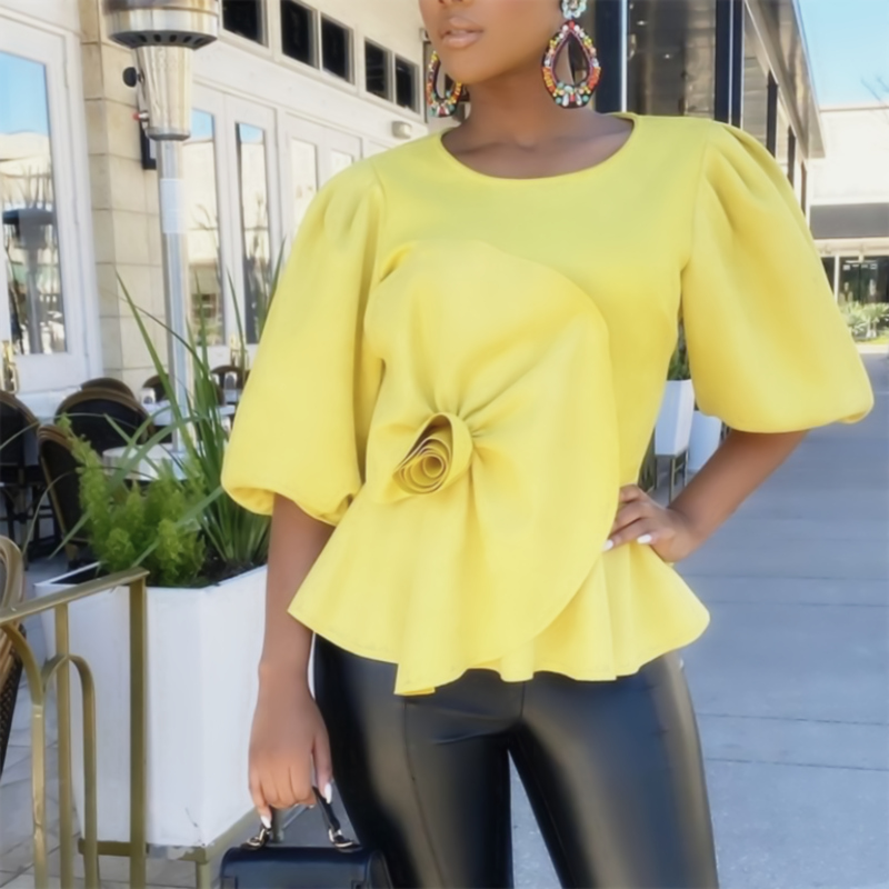 Yellow Blouse O Neck Half Lantern Sleeves White Peplum Tops Shirt Big Flower Spliced Women's Fashion Bluas Female Summer 2020