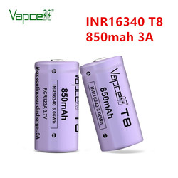 Vapcell Original 16340 850mah 3A T8 3.7V li ion battery rechargeable button top batteries for flashlight power tools HKJ test