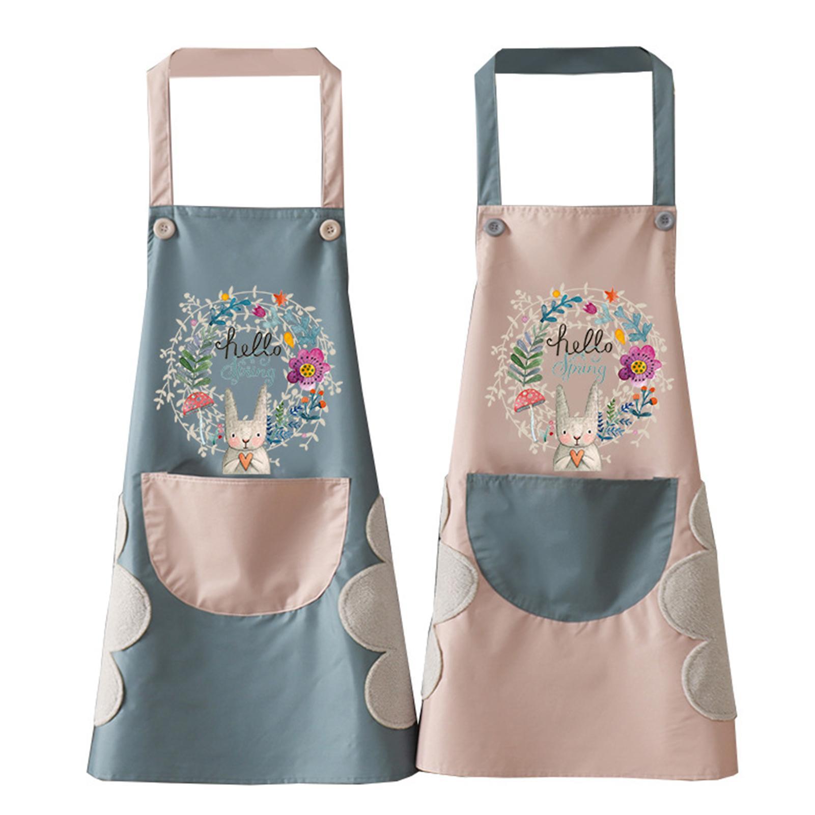 1Pcs Kitchen Wipeable Waterproof Oil Proof Cartoon Wreath Rabbit Kitchen Nail Shop Apron for Women Baking Accessories 90*70cm