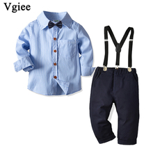 Vgiee Kids Clothes Boys Fall Children Set Striped Full Turn-down Collar Cotton Boy Clothing Wedding Birthday Party CC739 2018 children cotton pajamas set boys girls cardigan turn down collar solid color clothing kids air conditioning suit homewears