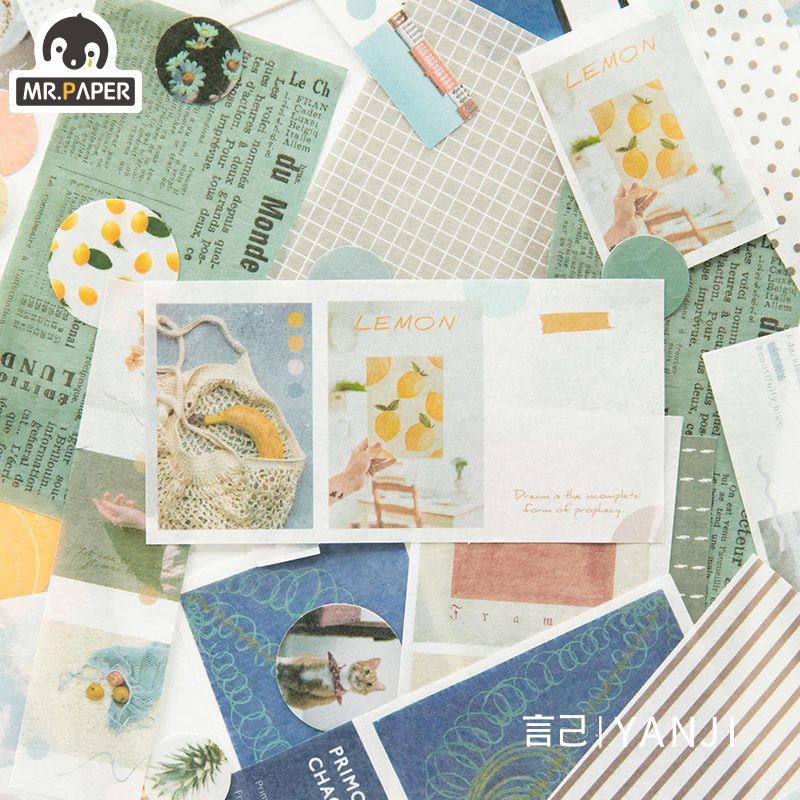 Mr.paper 4 Designs 40Pcs/lot Vintage Sights Simple Stripe Pocket Tape Deco Stickers Scrapbooking Bullet Journal Deco Stickers 2
