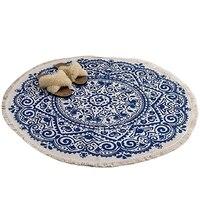 Marrocos redondo tapete quarto boho estilo borla algodão mão tecido nacional clássico tapeçaria sofá almofada tatami tapetes