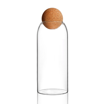Ball Cork Lead-free Glass Jar With Lid Bottle Storage Tank Sealed Tea Cans Cereals Candy Transparent Storage Jars Coffee Contain 11