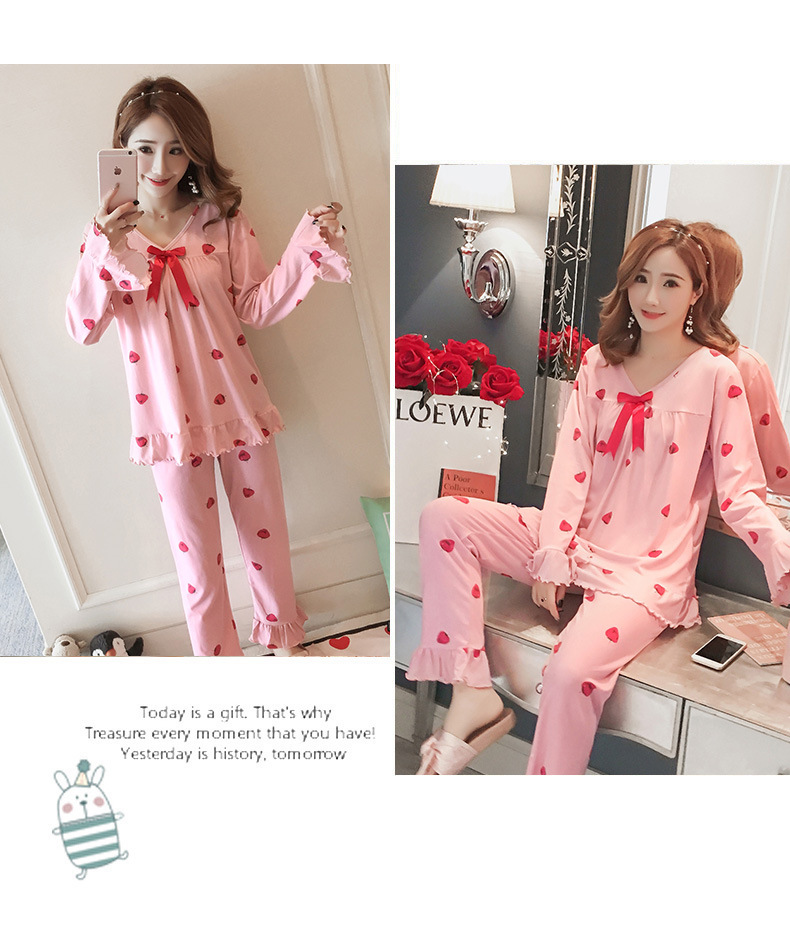 Autumn Women Cotton Pajamas Sets 2 Pcs Cartoon Printing Pijama Pyjamas Long Sleeve Bowknot Pyjama Sleepwear Sleep Set 56