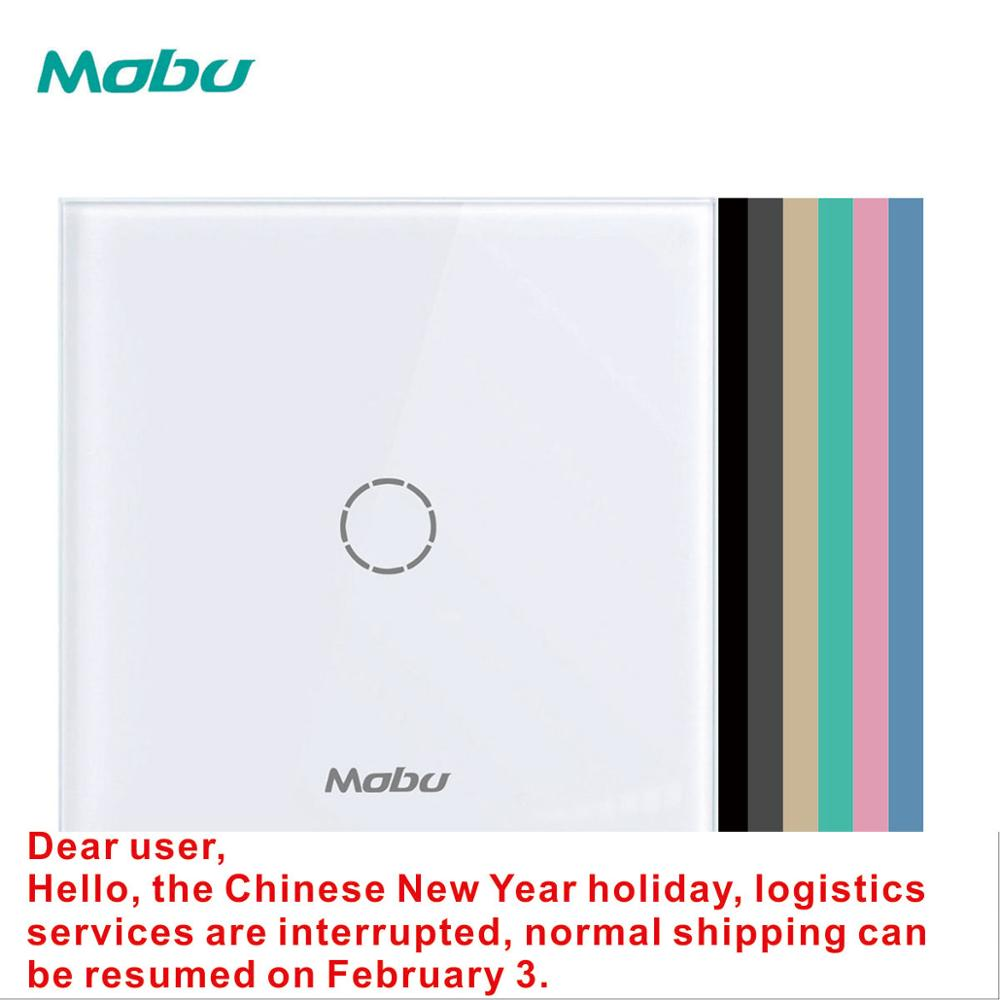 Mobu 1 Gang 1 Way, Crystal Glass Panel Touch Switch, Light Wall Touch Screen Switch