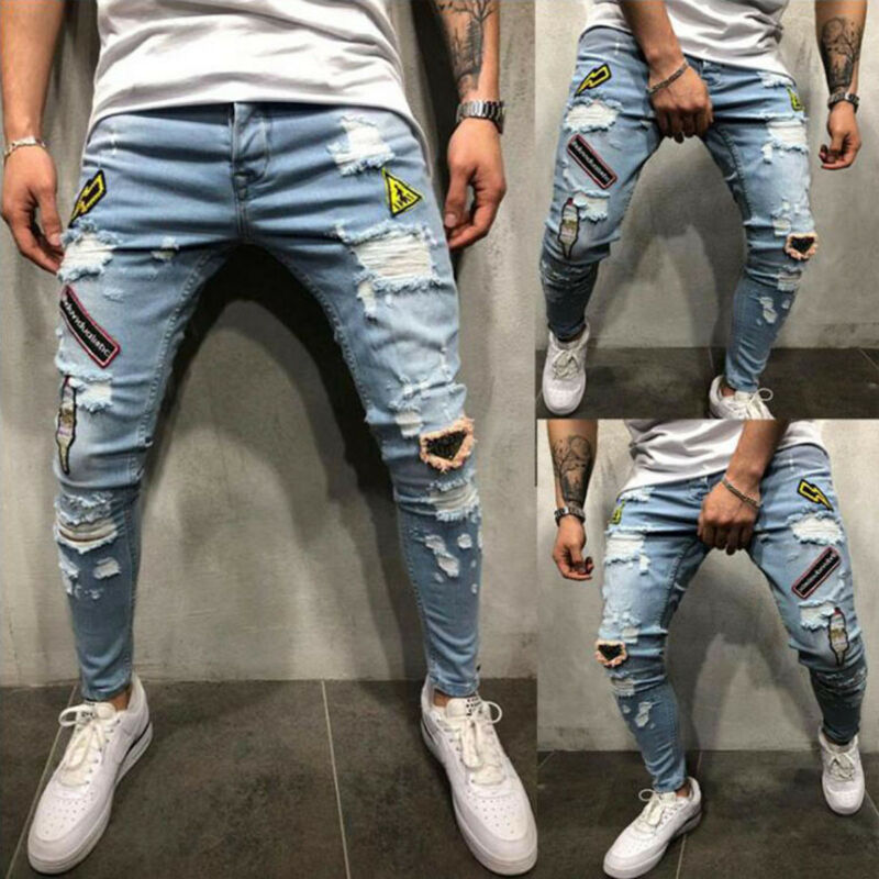 Fashion Mens Stretchy Ripped Skinny Jeans Personality Unique Cool Pants Street Destroyed Frayed Slim Fit Denim Pants Trousers