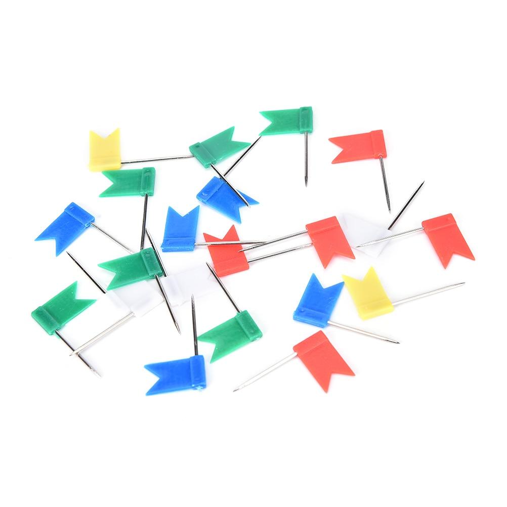 50pcs Mixed Color Flag Push Pins Nail Thumb Tack Map Drawing Pin Stationery Hot Sale