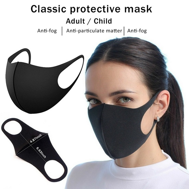 3PCS Black PM2.5 Washable Mouth Mask Anti Haze Dust Mask Nose Filter Windproof Face Anti Bacteria Flu Fabric Cloth Respirator