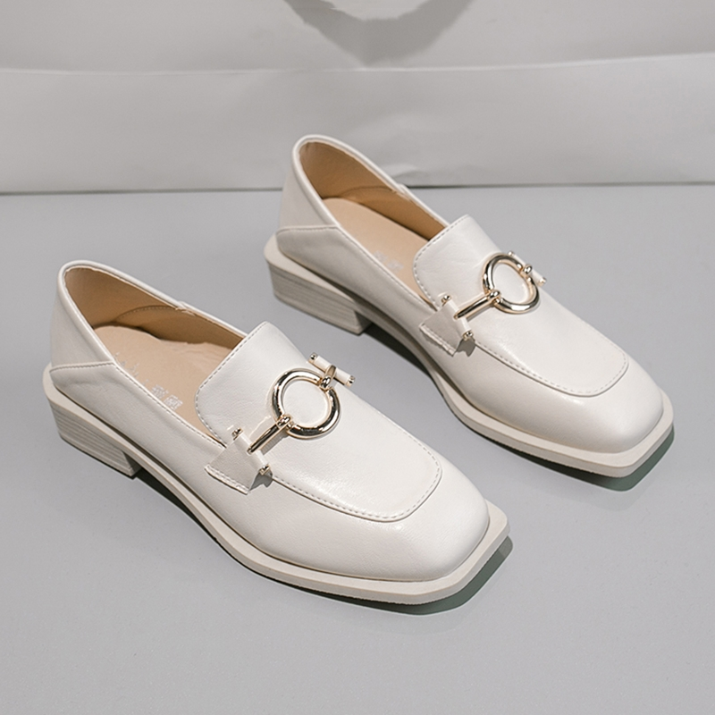 New Spring Women Loafers Fashion Metal Buckle Low Heel 3cm Pumps Ladies Office Casual Shoes Slip-on PU Women Casual Shoes