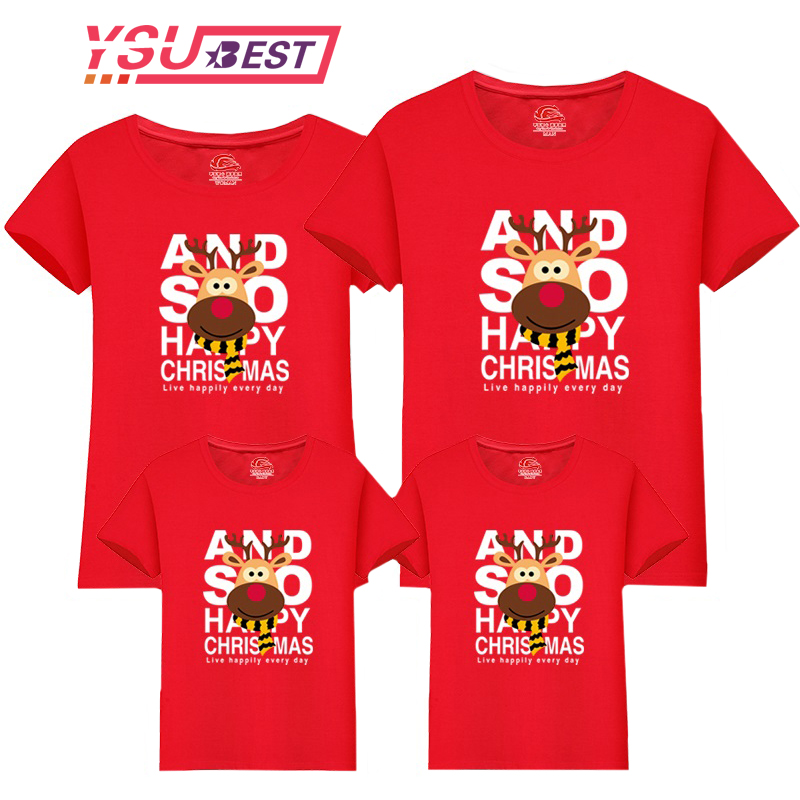 Christmas Family Matching Clothes Mommy And Me T Shirt Cartoon Short-sleeved Cotton Kids Girls Boys Clothing Children T-shirt