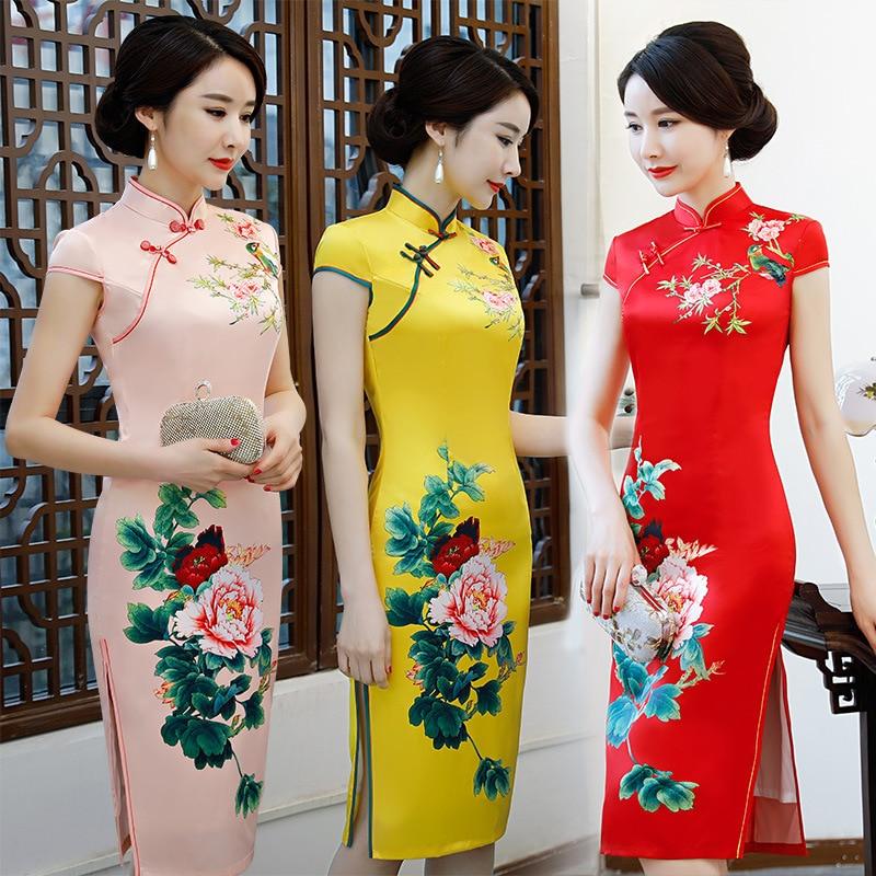 2018 Autumn's Glitter Mid-length Double Layer Silk Cheongsam Large Size Slim Fit Middle-aged Women Dress Cheongsam